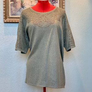 Alfred Dunner moss green eyelet sweater in size 3X